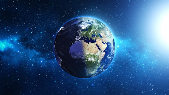 Planet Earth with sun in universe or space, Globe and galaxy in