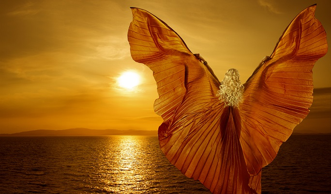 Woman With Butterfly Wings Flying On Fantasy Sea Sunset, Relaxat